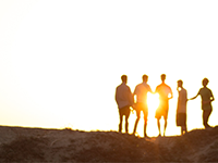 Life Back, Group of People, sunset